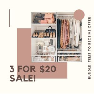 3 For $20 Sale! Bundle Items to Receive Offer!